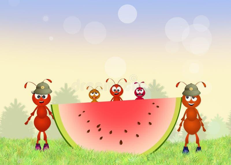 Rolig armé av röda myror royaltyfri illustrationer