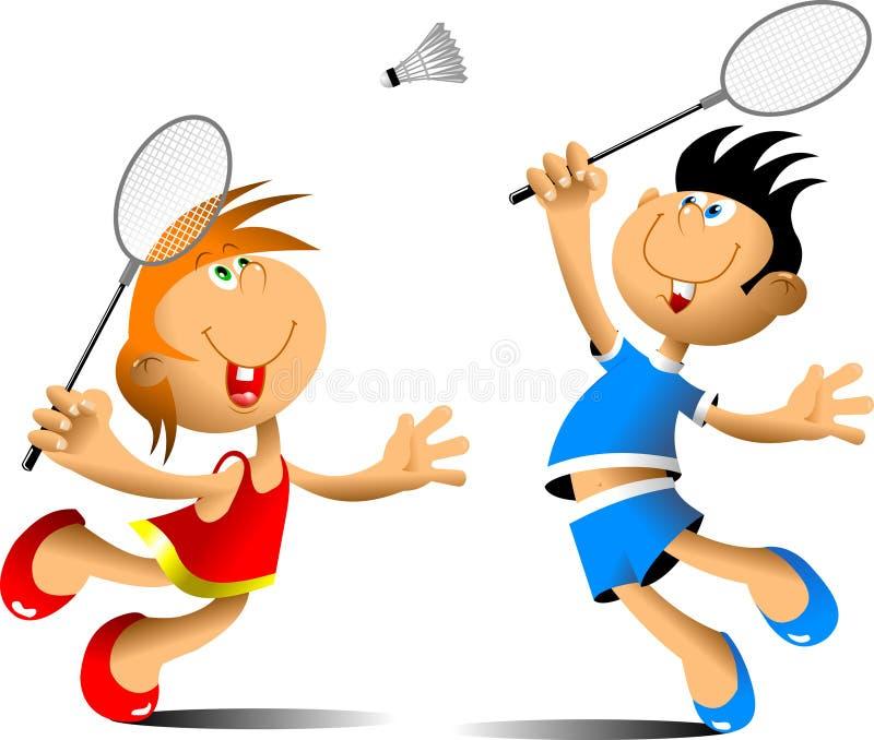 Rolig badminton vektor illustrationer