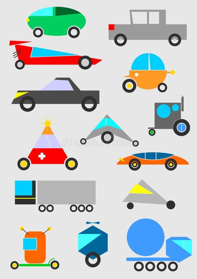 Rolig bakgrund för leksakbilvektor royaltyfri illustrationer