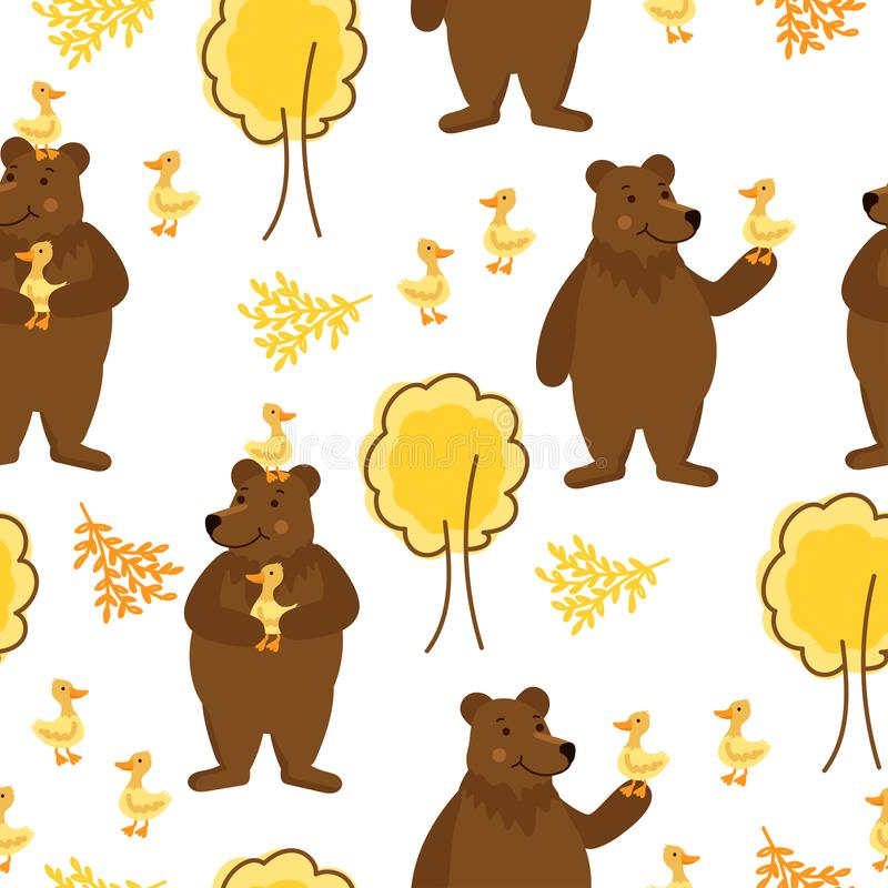 Rolig bakgrund med björnar, anden och träd royaltyfri illustrationer