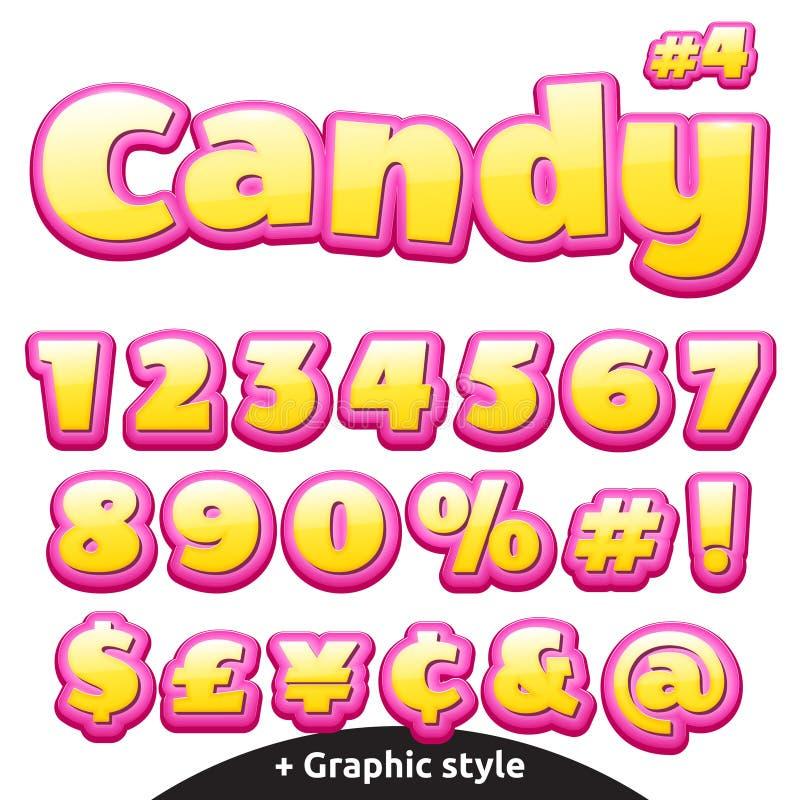 Rolig barns uppsättning för godisbokstäver numrerar symboler stock illustrationer