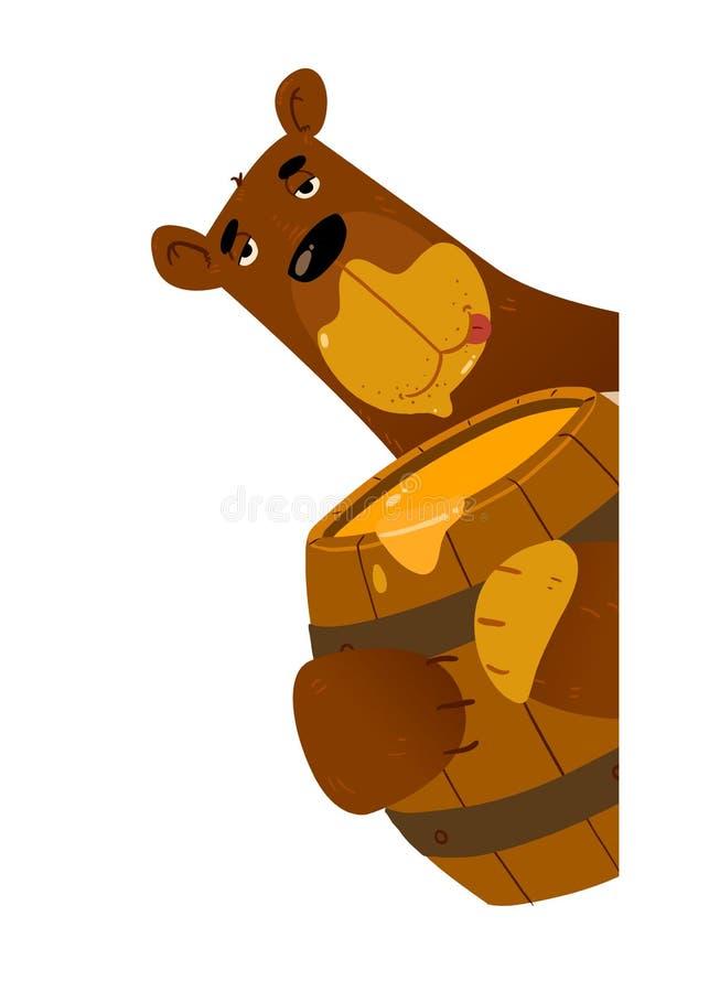 Rolig björn med honung stock illustrationer