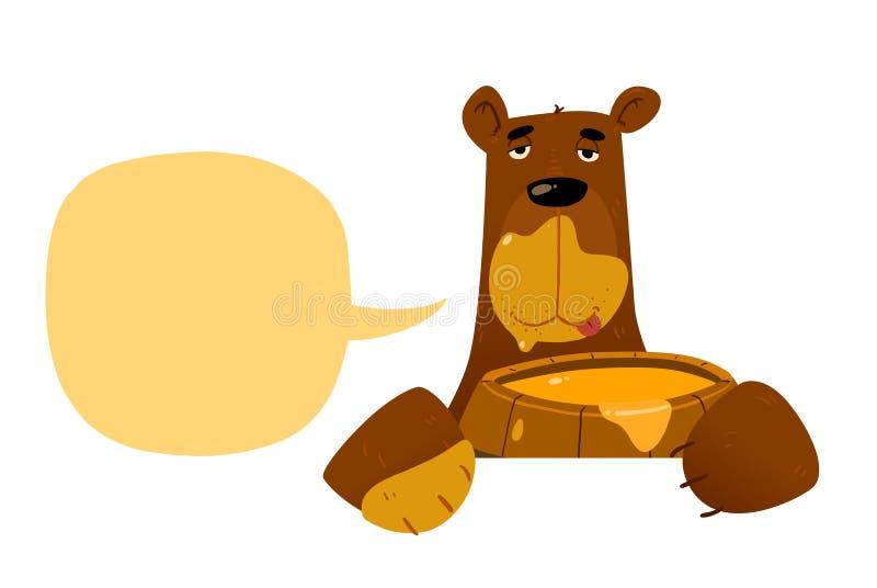 Rolig björn med honung royaltyfri illustrationer