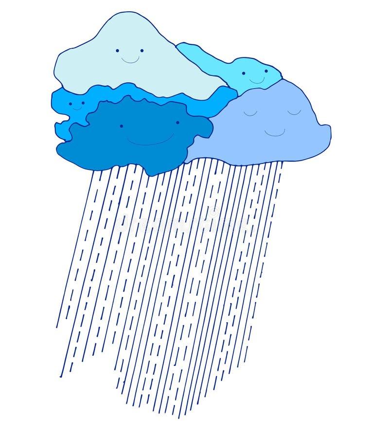Rolig blå himmel för kulör tecknad film med regndroppar, klotterstil royaltyfri illustrationer