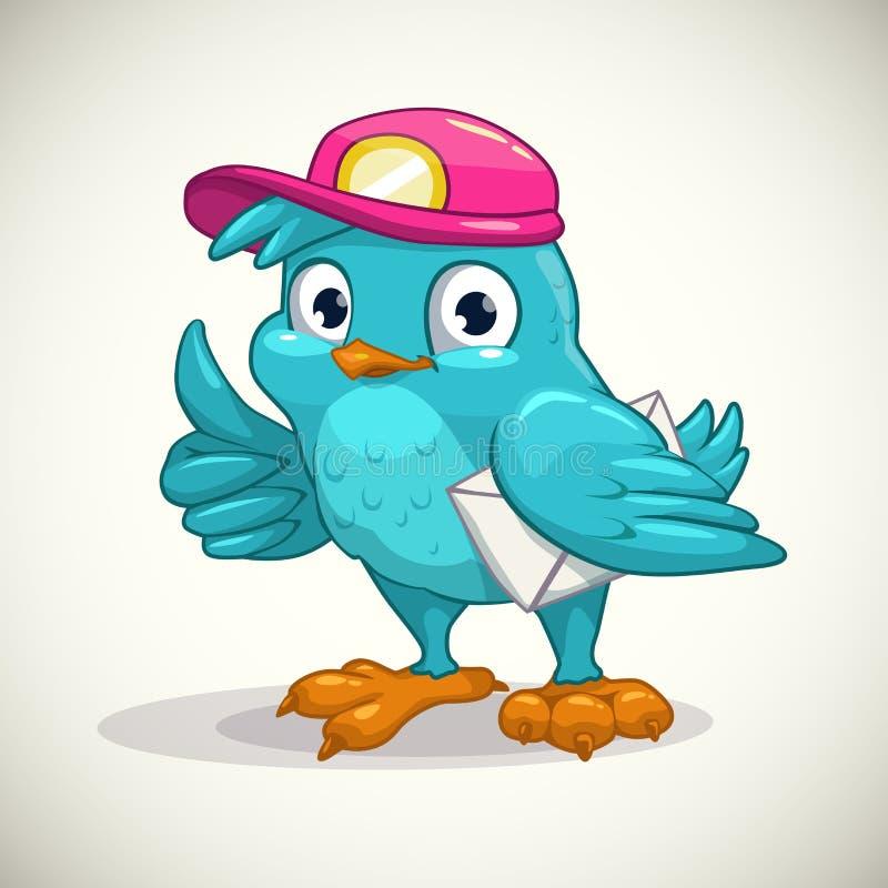 Rolig blå tecknad filmfågel med bokstaven vektor illustrationer