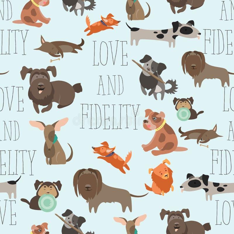 Rolig blandad avelhundkapplöpning för sömlös modell stock illustrationer