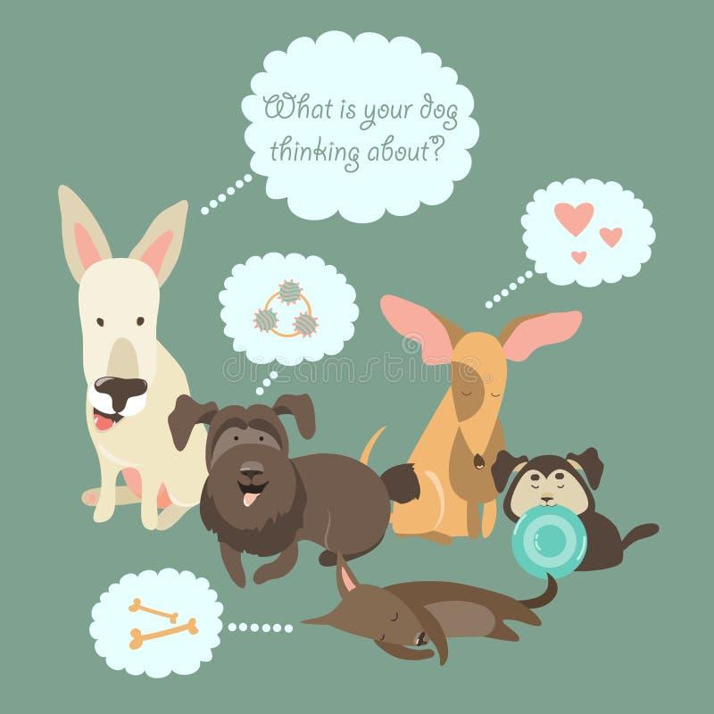Rolig blandad avelhundkapplöpning med anförandebubblan vektor illustrationer