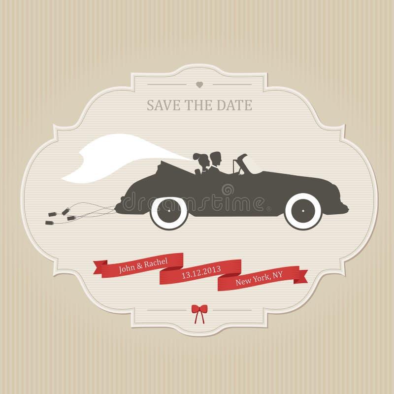 Rolig bröllopinbjudan med släpande cans för tappningbil stock illustrationer
