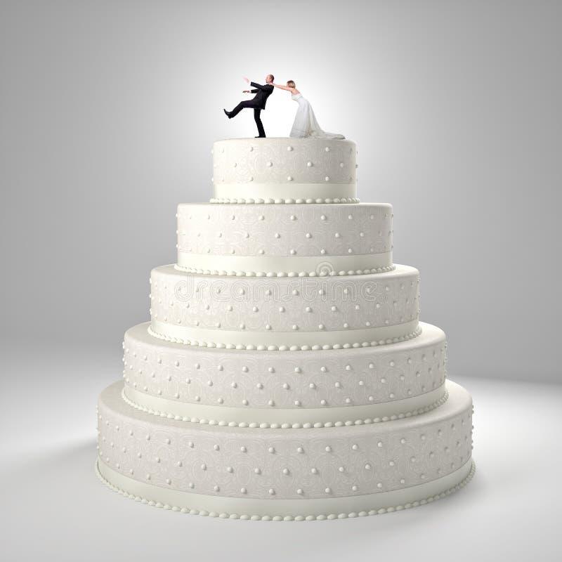 Rolig bröllopstårta vektor illustrationer