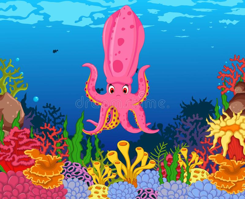 Rolig calamaritioarmad bläckfisk med bakgrund för skönhethavsliv vektor illustrationer