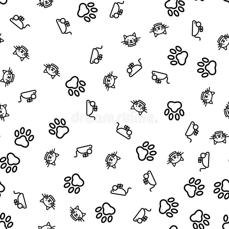 Rolig Cat Animal Life Seamless Pattern vektor vektor illustrationer