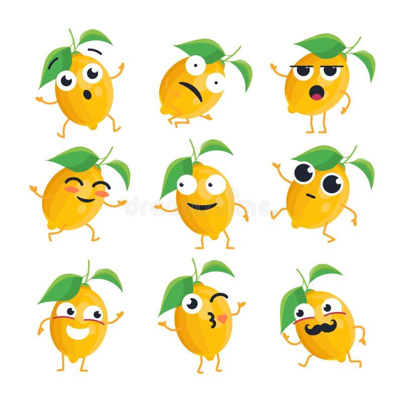 Rolig citron - vektor isolerade tecknad filmemoticons stock illustrationer