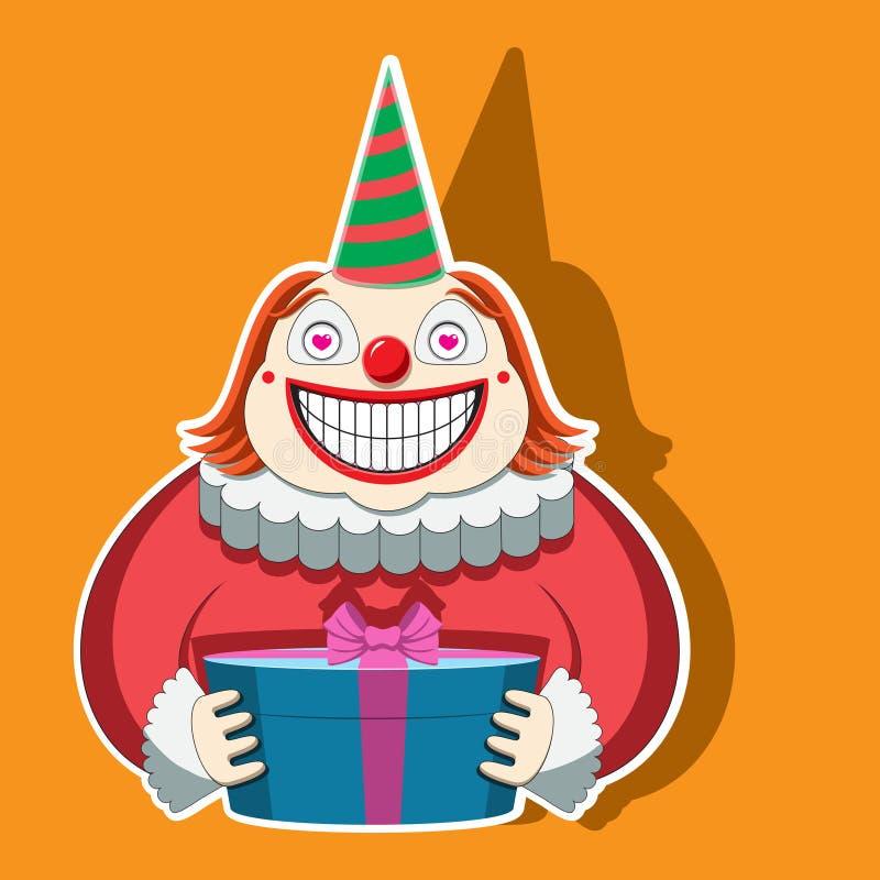 Rolig clown för tecken i ett randigt lock som rymmer en gåva bl? vektor f?r sky f?r oklarhetsbildregnb?ge stock illustrationer