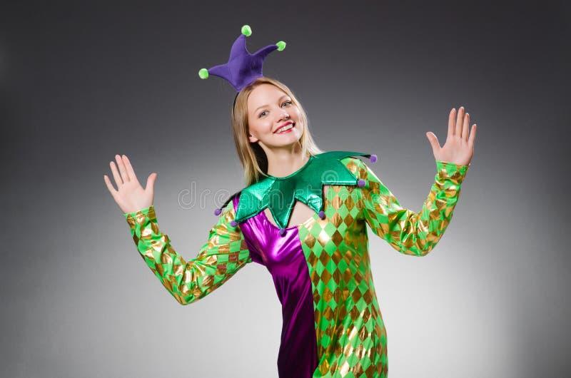 Rolig clown i färgglat arkivfoto
