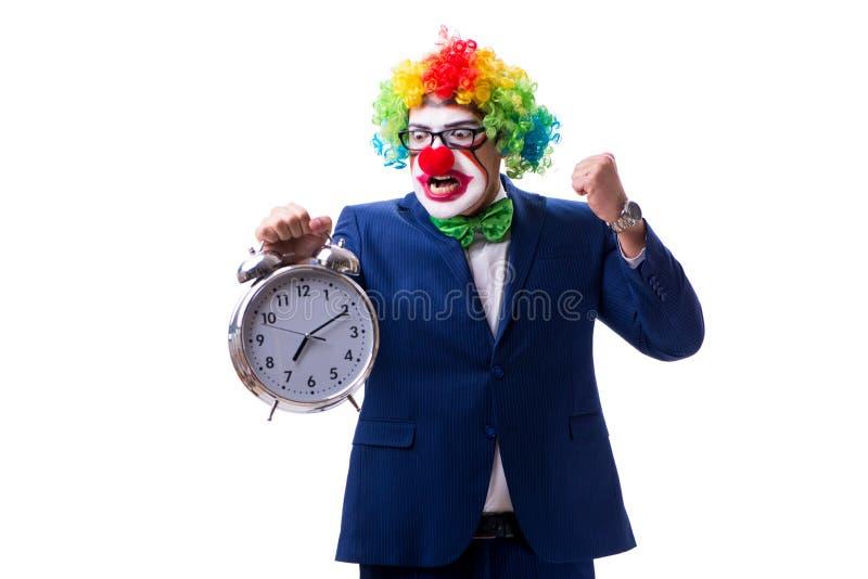 Rolig clownaffärsman med en ringklocka som isoleras på vita lodisar royaltyfri fotografi