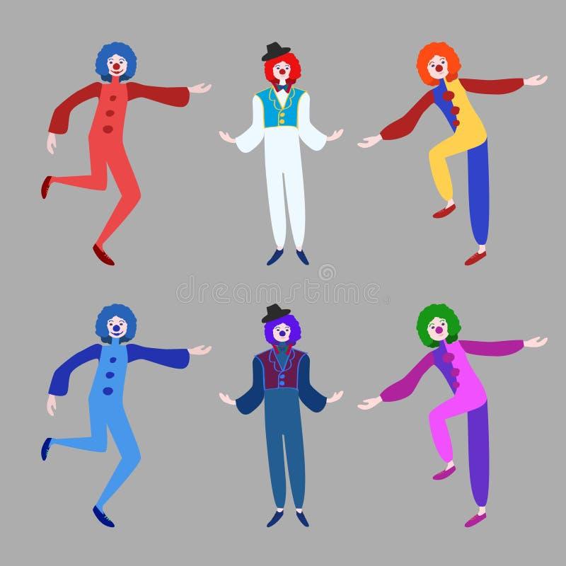 Rolig clownsamling för cirkus royaltyfri illustrationer