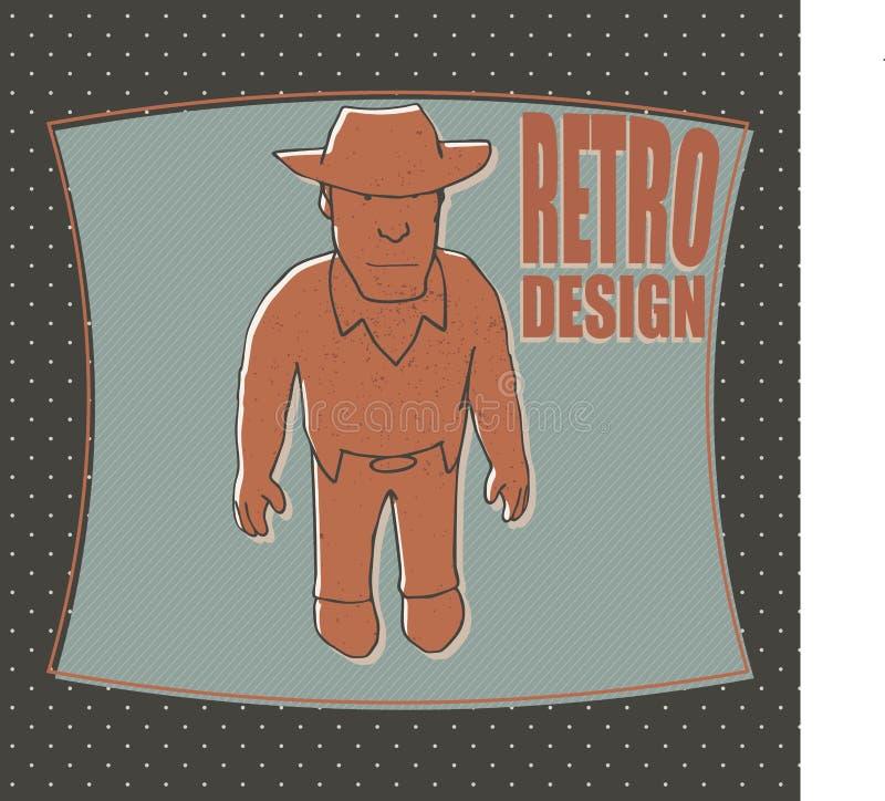 Rolig cowboyvektorillustration stock illustrationer