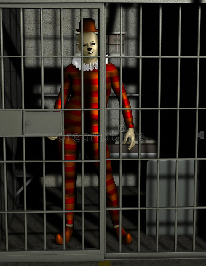 Rolig dålig clown Jail Illustration stock illustrationer
