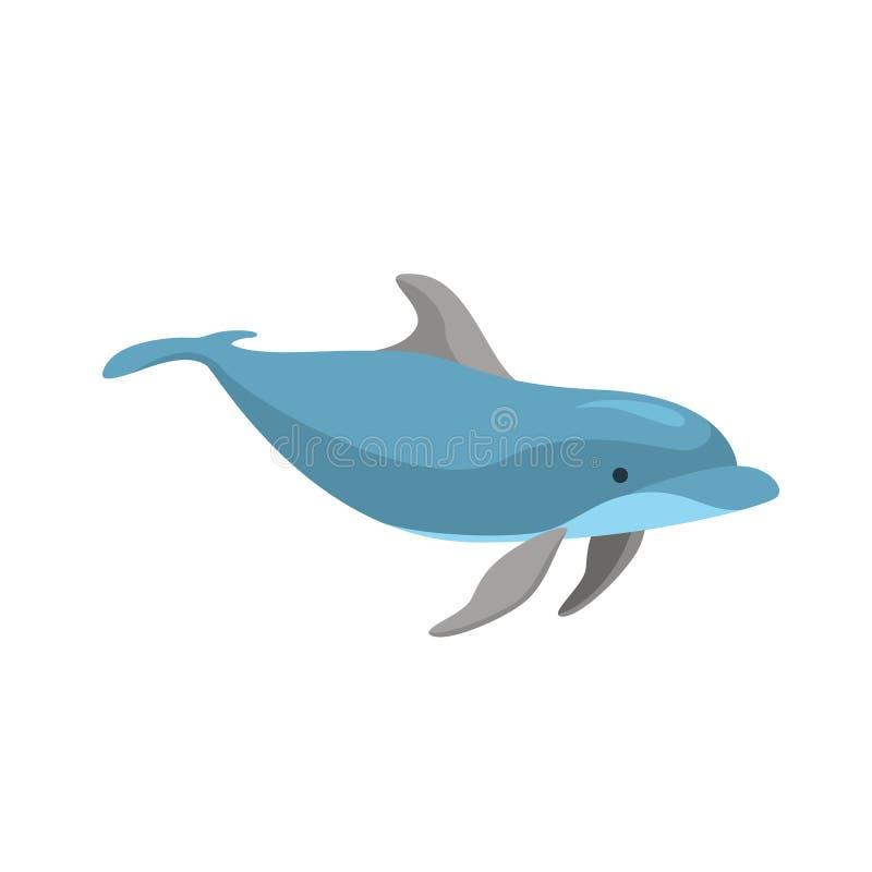 Rolig delfin f?r tecknad filmtecken p? ett vitt vektor royaltyfri illustrationer