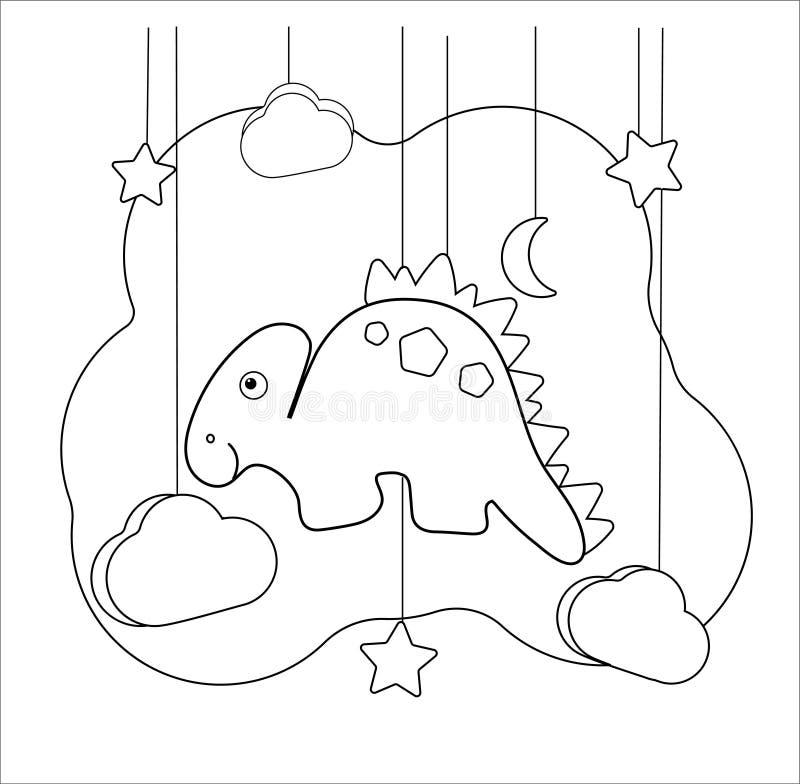 Rolig dino bildande lek med stegosaurusen Färga sidan för barn av den förskole- åldern tecknad filmdinosaurie, måne, stjärn stock illustrationer