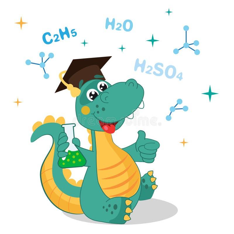 Rolig dinosaurie som experimenterar med kemikalieer och formel på en vit bakgrund Illustrationer för tecknad filmskolavektor royaltyfri illustrationer