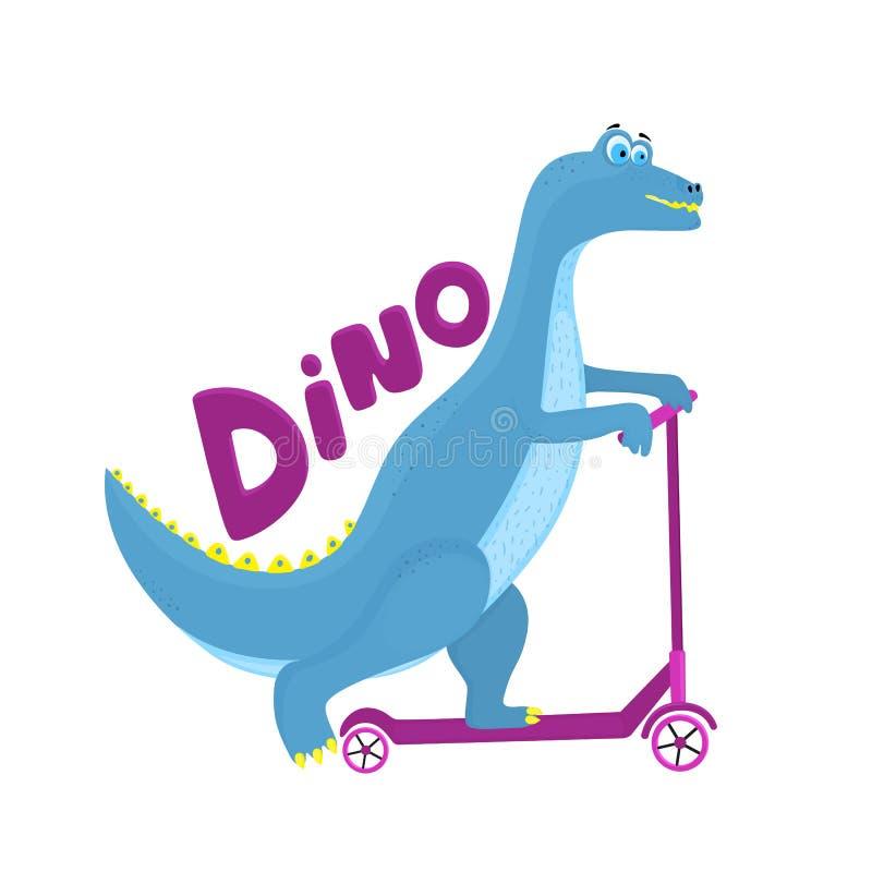Rolig dinosaurie som rider ett sparkcykeltecknad filmtecken royaltyfri illustrationer