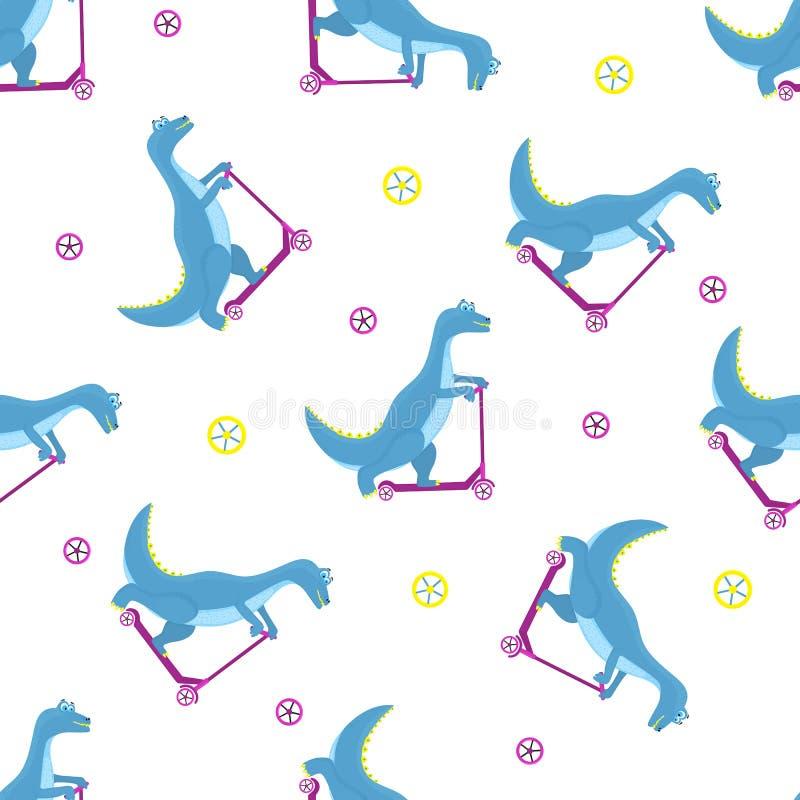 Rolig dinosaurie som rider ett sparkcykeltecknad filmtecken Sömlös modell för barnkammaren, tyg, textil, ungedräkt royaltyfri illustrationer