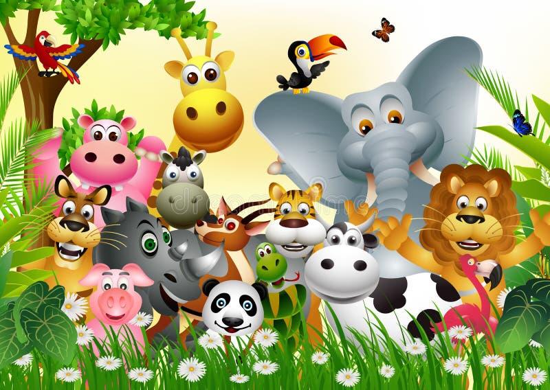 Rolig djur djurlivtecknad filmsamling royaltyfri illustrationer