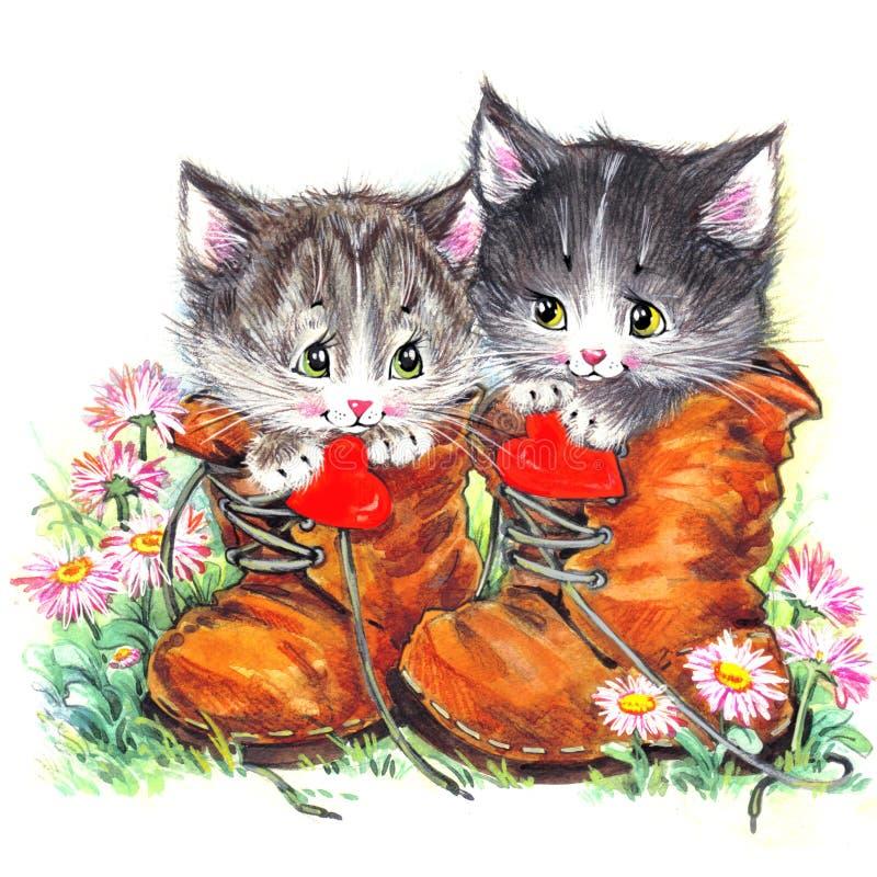 Rolig djur kattunge vattenfärg