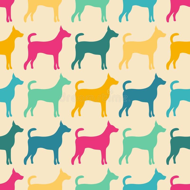 Rolig djur sömlös vektormodell av hunden vektor illustrationer