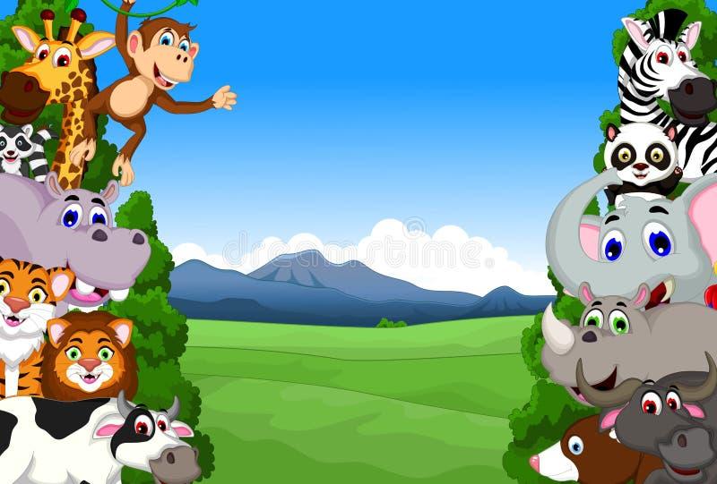 Rolig djur tecknad filmsamling i djungeln vektor illustrationer