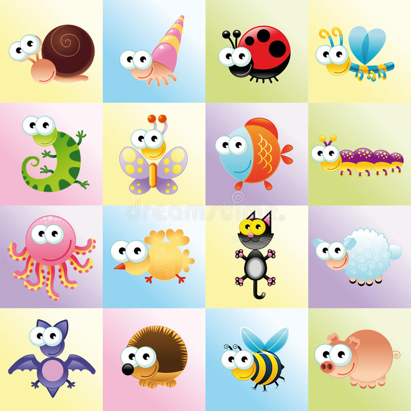 rolig djurfamilj vektor illustrationer