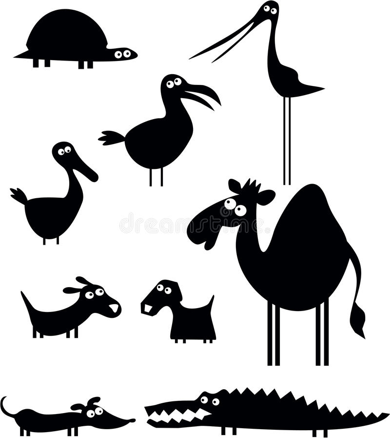 rolig djursamling stock illustrationer