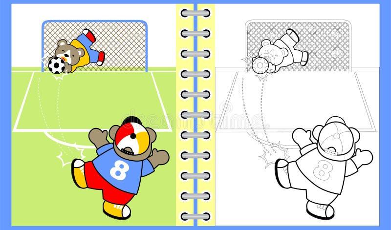 Rolig djurtecknad film som spelar fotboll royaltyfri illustrationer