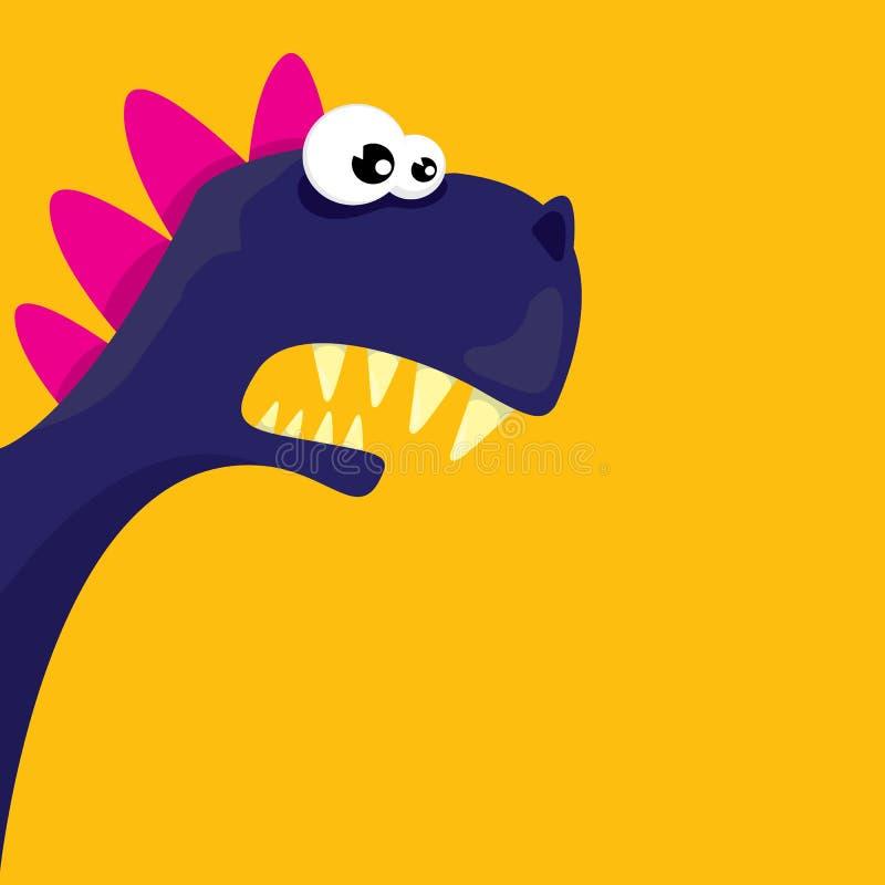 Rolig drake för vektortecknad film isolerad white för tecknad film dinosaur stock illustrationer