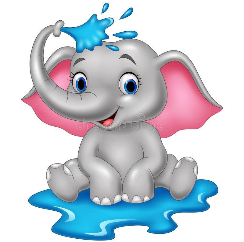 Rolig elefant för tecknad film som besprutar vatten royaltyfri illustrationer