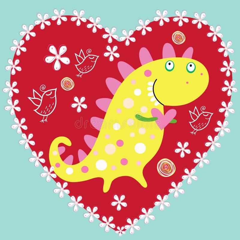 rolig förälskelse för dinosaur stock illustrationer