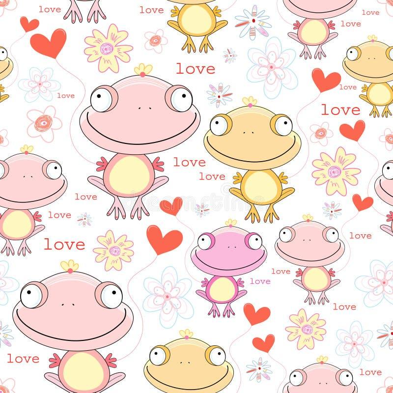 rolig förälskelsetextur för grodor vektor illustrationer
