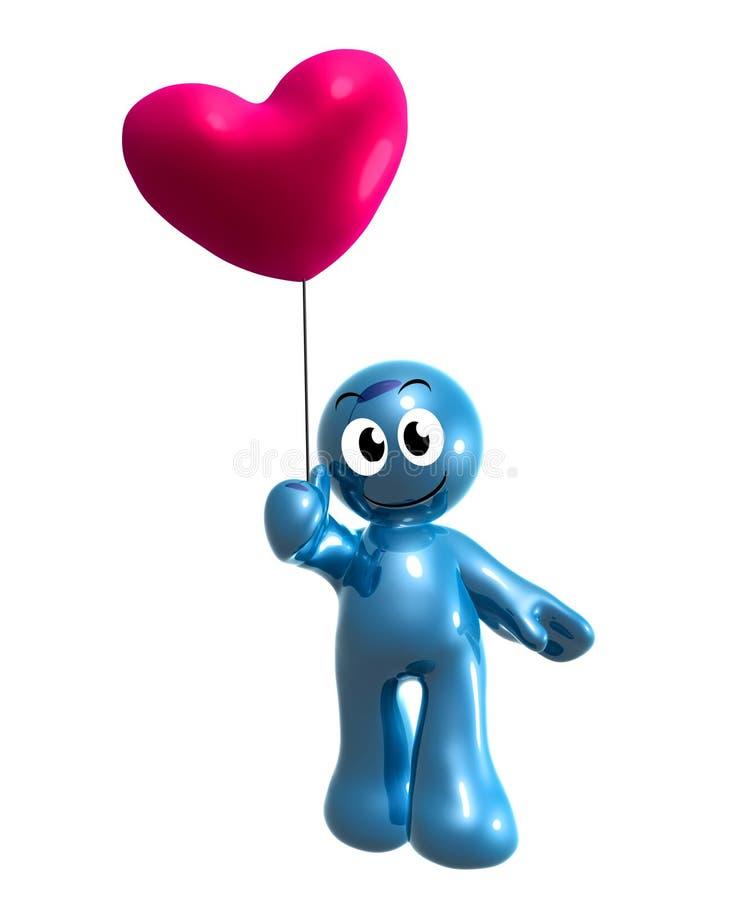 Rolig för holdinghjärta för symbol 3d ballong royaltyfri illustrationer