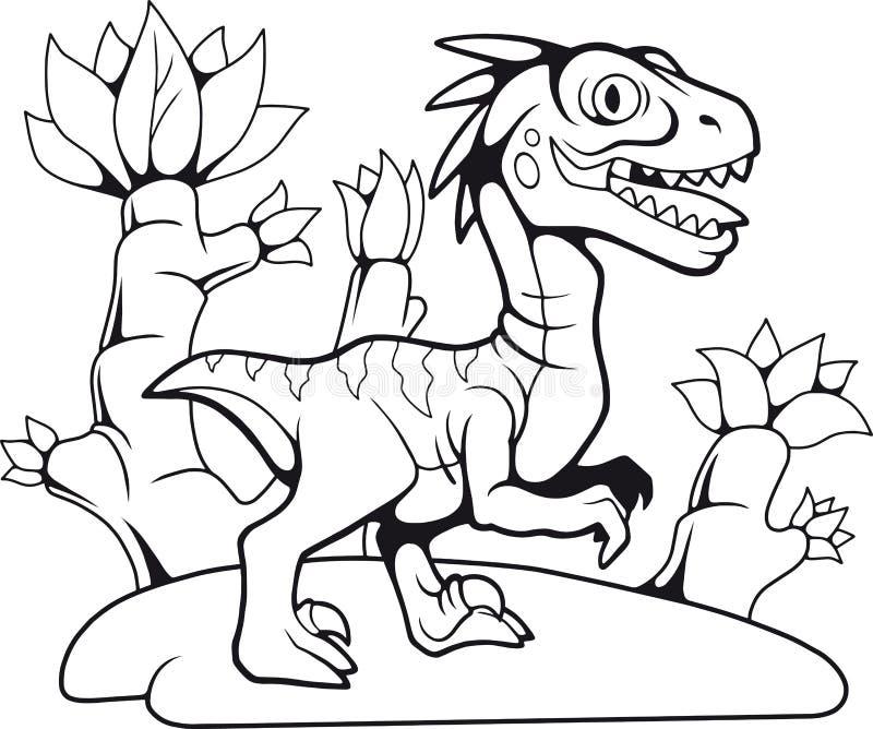 Rolig förhistorisk velociraptor, konturteckning, färgläggningbok royaltyfri illustrationer