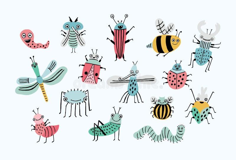Rolig feluppsättning Lyckliga tecknad filmkryp för samling Färgrik hand dragen illustration stock illustrationer