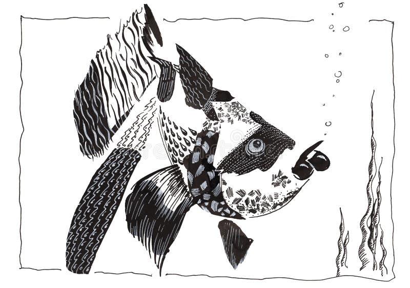 Rolig fisk för handteckning royaltyfri illustrationer