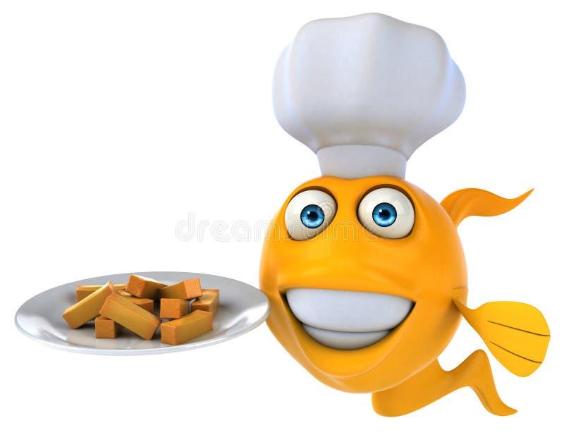 Rolig fisk och chiper royaltyfri illustrationer