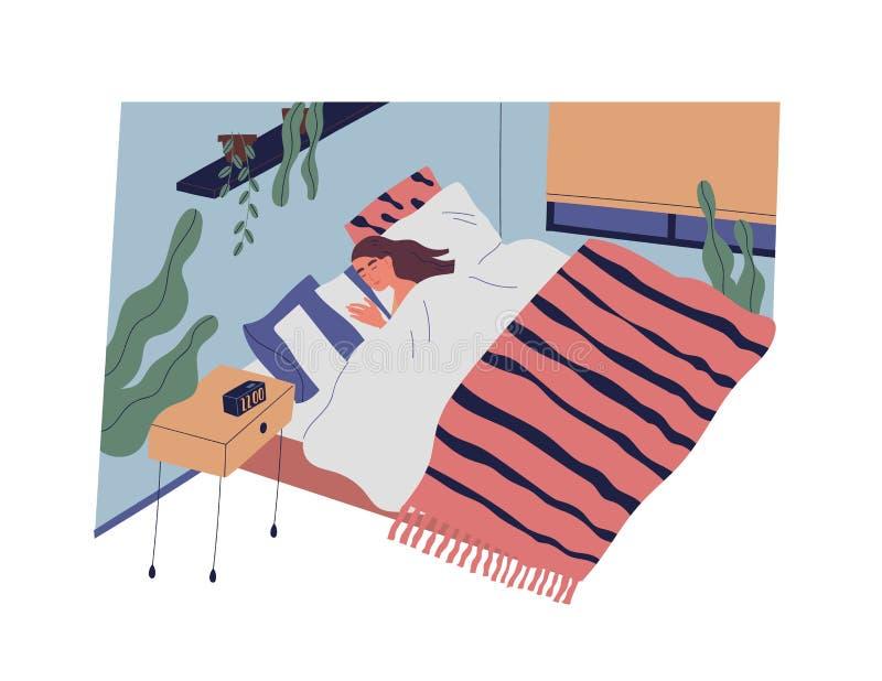 Rolig flicka eller kvinna som sover i sovrum på natten Kvinnligt tecken som ligger i väl till mods säng och sovande faller Vila o royaltyfri illustrationer