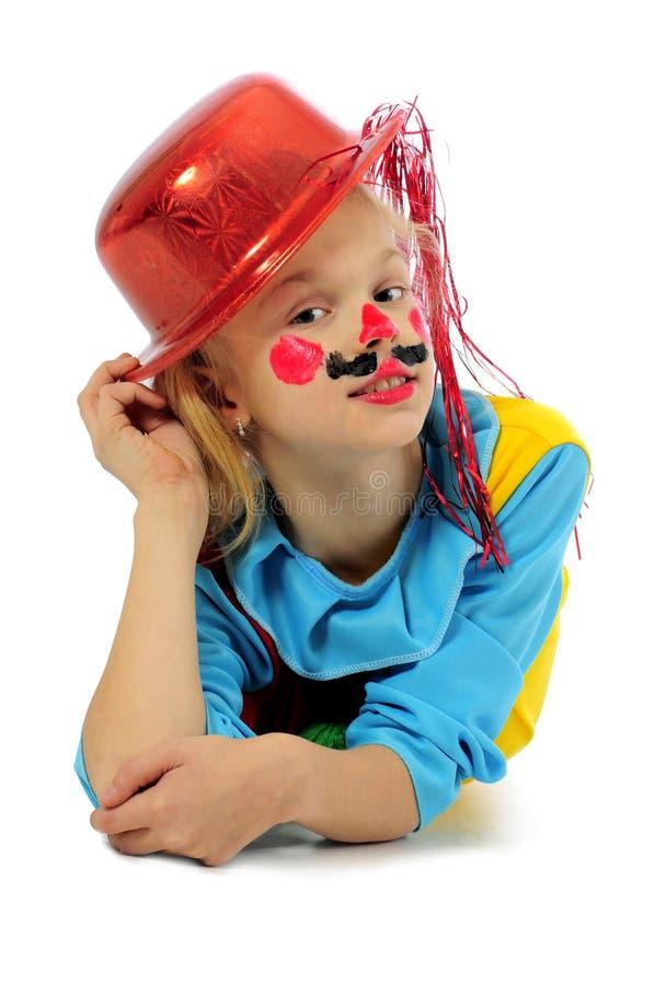 rolig flicka för clown arkivfoto