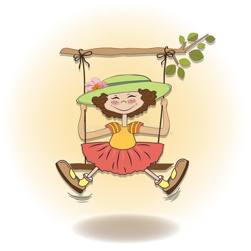 Rolig flicka i en swing stock illustrationer