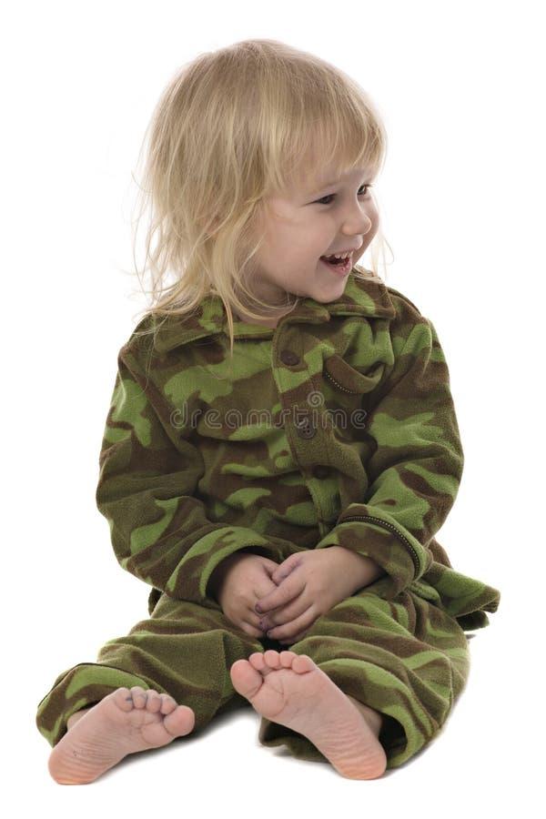 rolig flicka little militär arkivbilder
