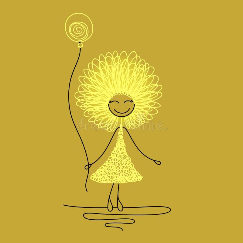 Rolig flicka med ballongen stock illustrationer