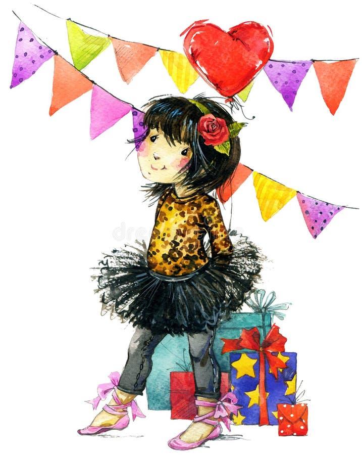 Rolig flicka och födelsedagferiebakgrund för flygillustration för näbb dekorativ bild dess paper stycksvalavattenfärg royaltyfri illustrationer