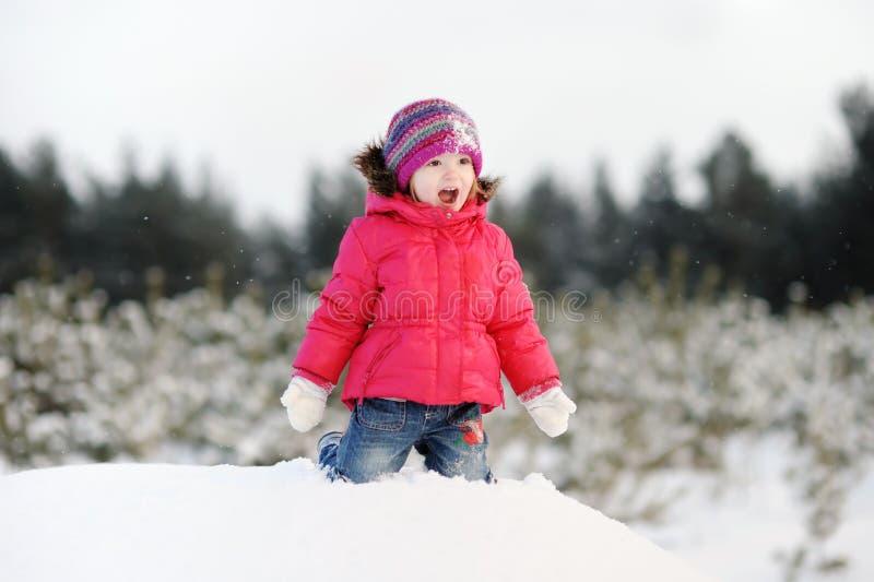 rolig flicka som har little att övervintra arkivbild